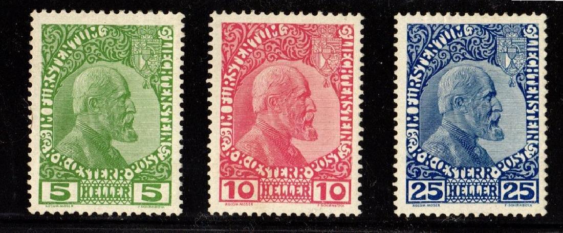 Liechtenstein Scott 1-3 VF OG VLH SCV.$212