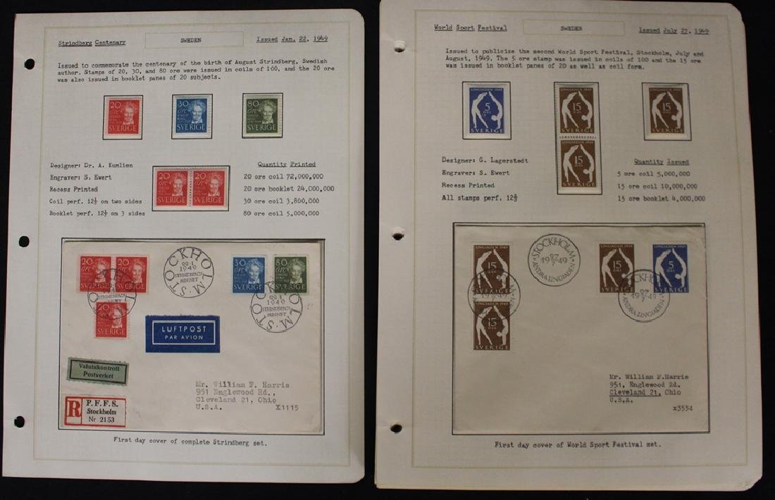 Sweden Stamps & First Days 1949-1958