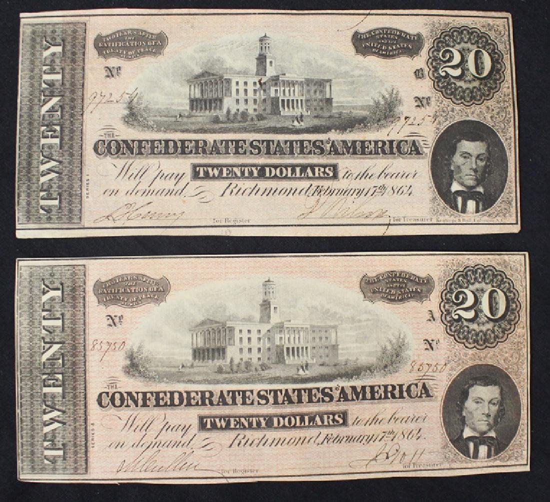 Pair of 1864 Confederate $20 banknotes VF