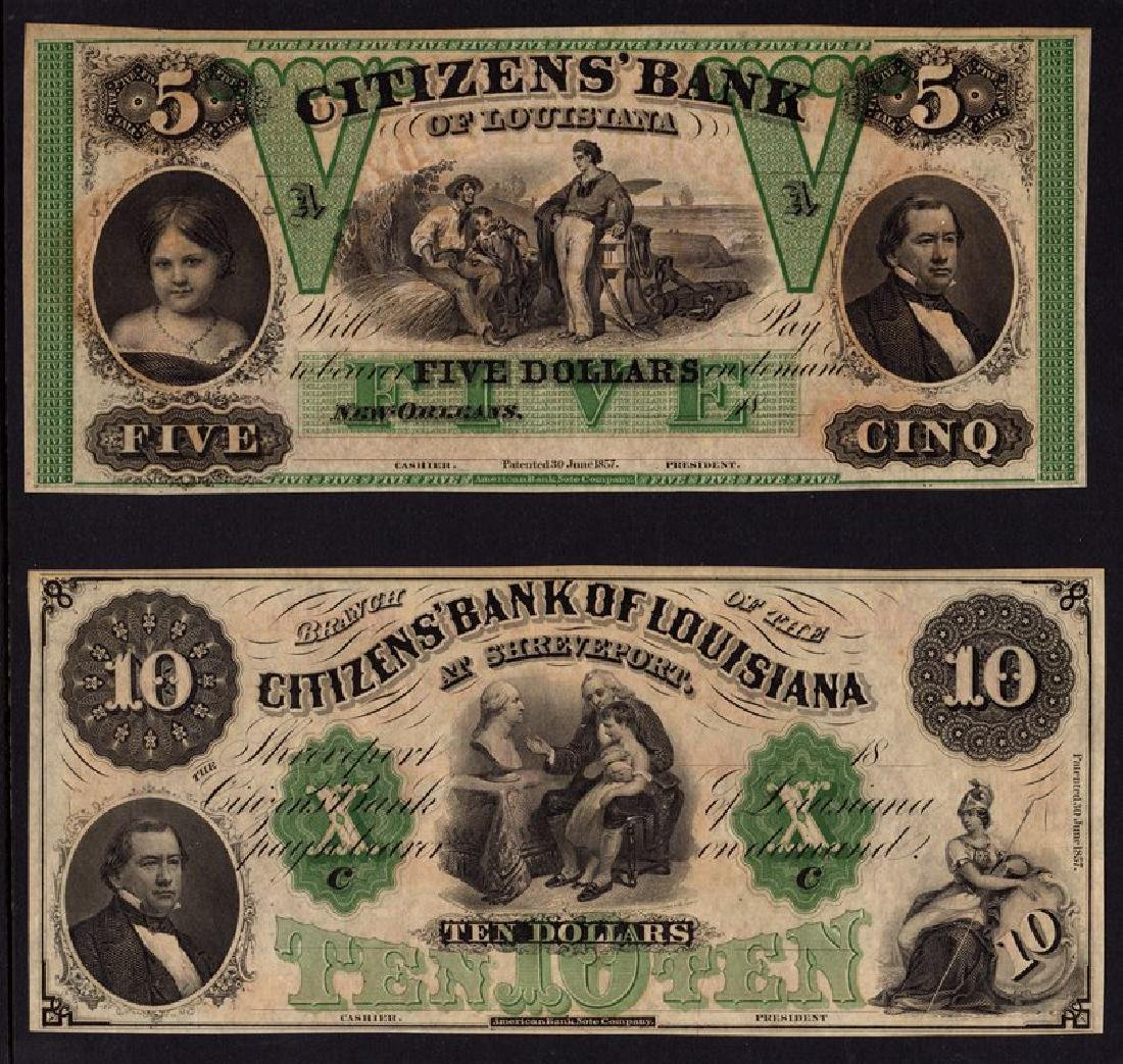 Pair of Louisiana Obsolete Curreny Notes