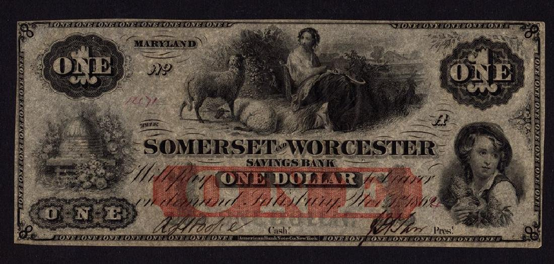 1862 $1 The Somerset and Worcester Savings Bank