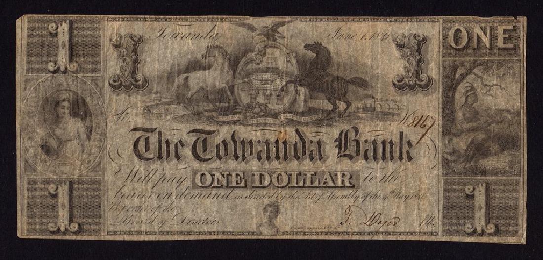 1841 US Obsolete Currency - Towanda Bank, $1 One Dollar