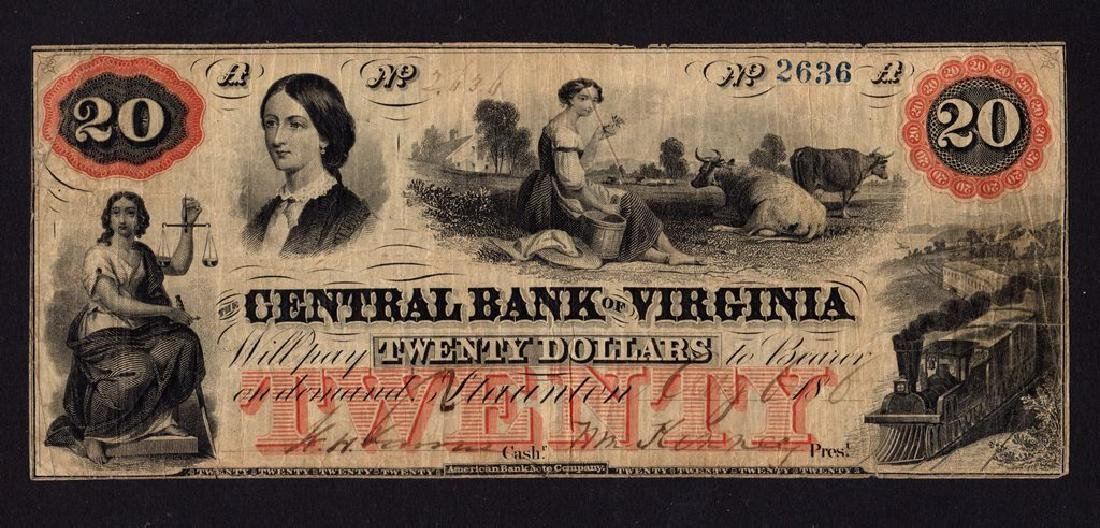 (2)Civil war Era Obsolete Virginia $20 Banknotes