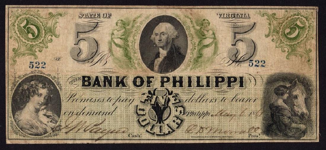 1861 $5 The Bank of Philippi, (West) Virigina Obsolete
