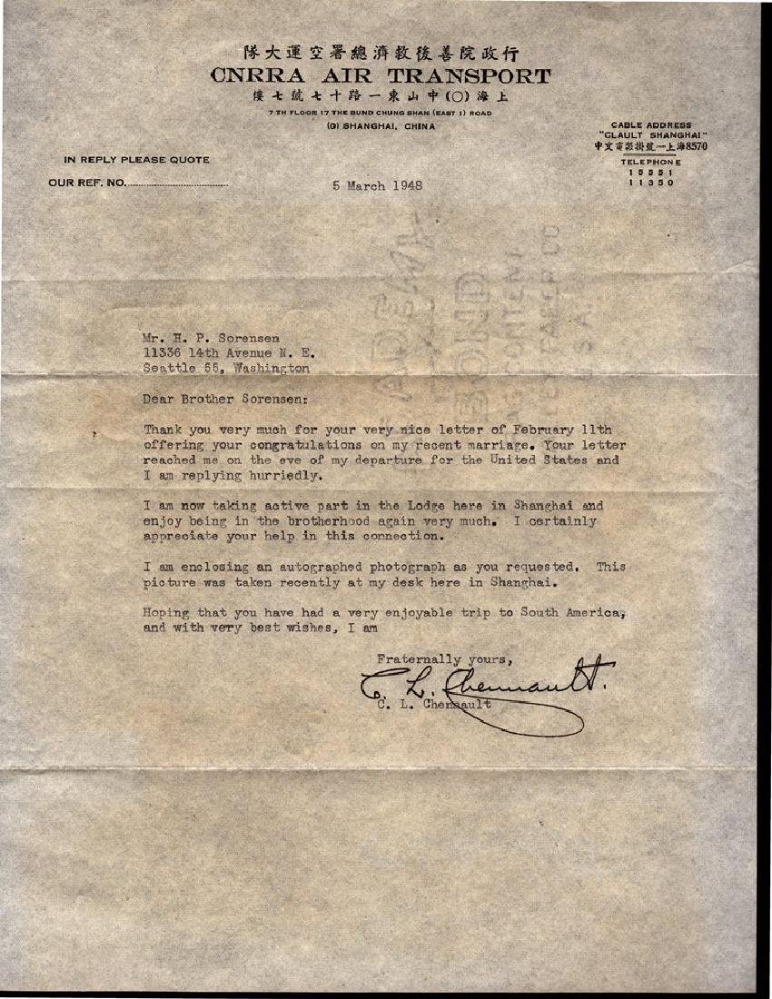 Claire Lee Chennault Signed Typed Letter 1948
