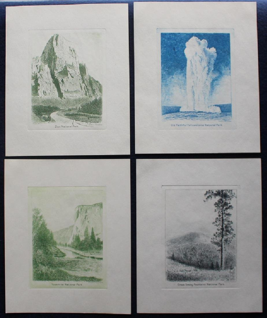 USA 1934 Peckmore National Parks Die Proofs on Card