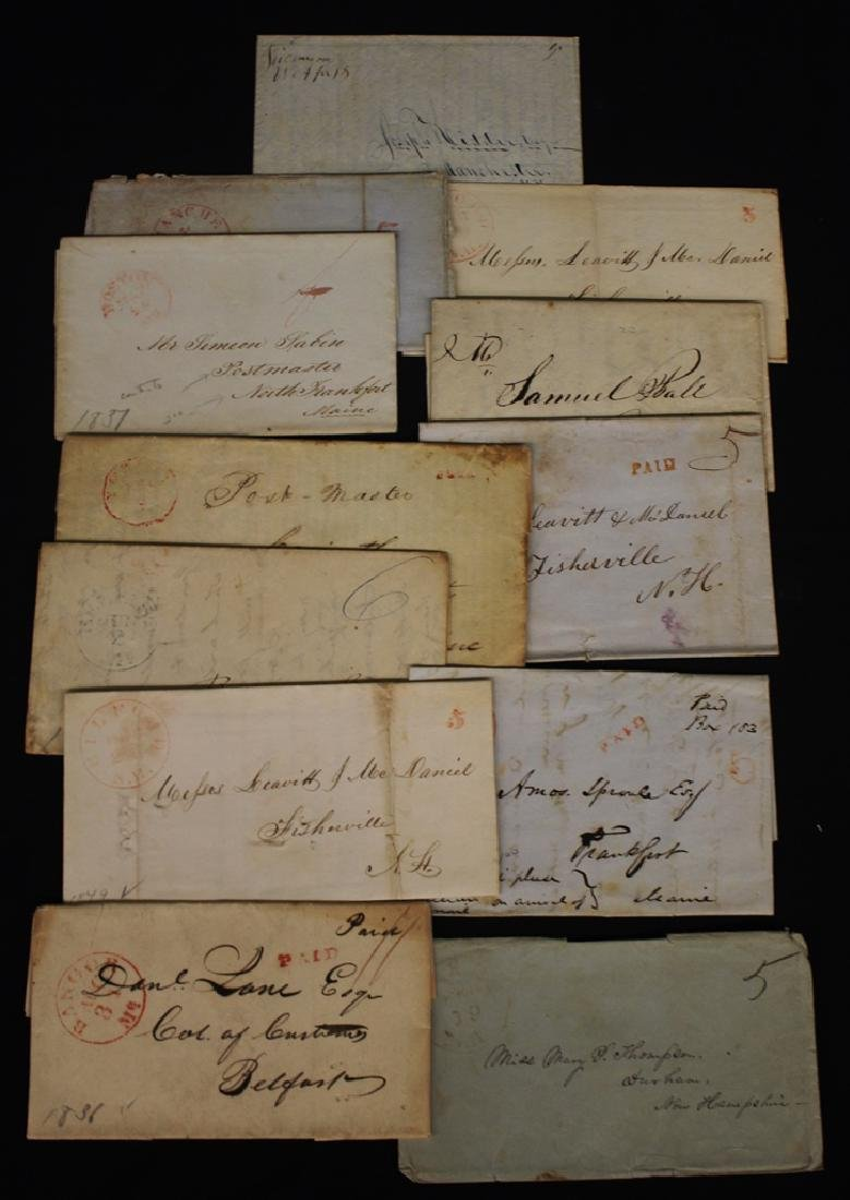 (12) U.S. Stampless Covers N.H. Maine