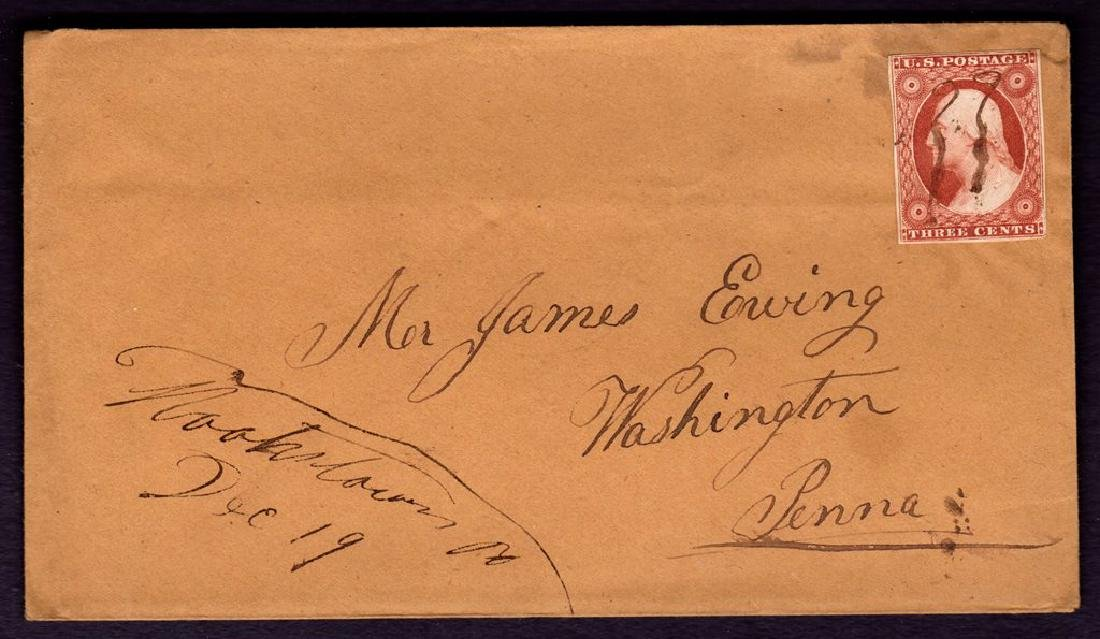 United States Scott 10 VF on Hookstown Pa cover