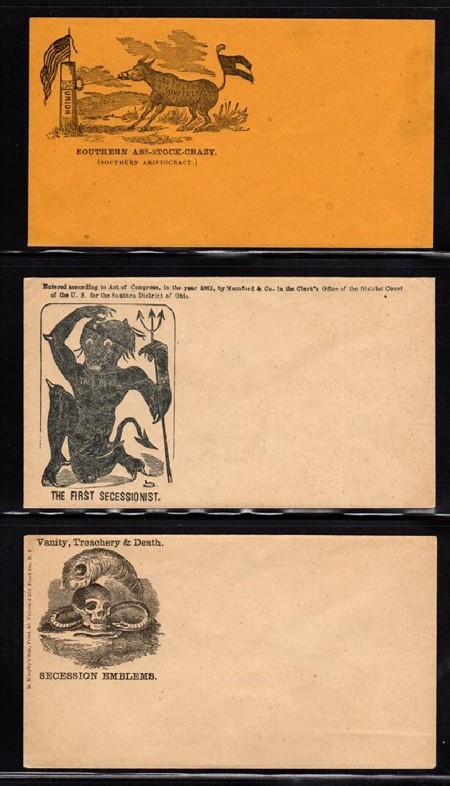 (3) Unused Civil War Patriotic Envelopes