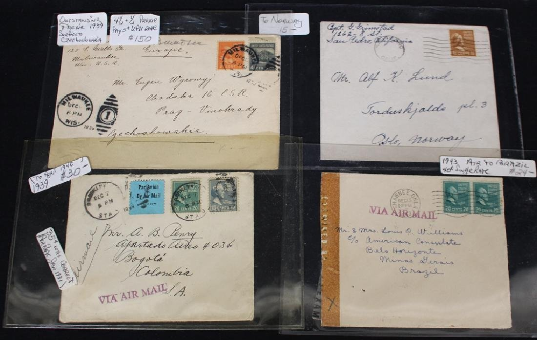 Prexie Covers to Foreign Destinations Lot (12)