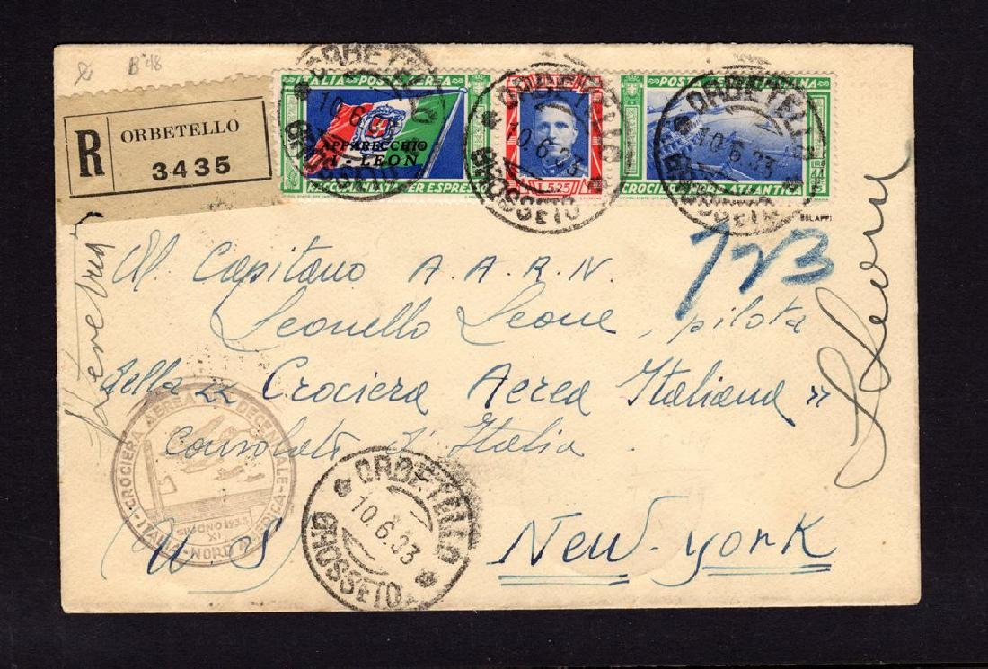 Italy C49 Balbo flight cover to New York Signed by
