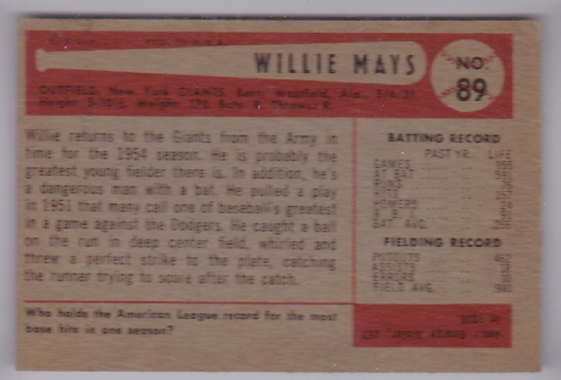 1954 Bowman #89 Willie Mays Card - 2
