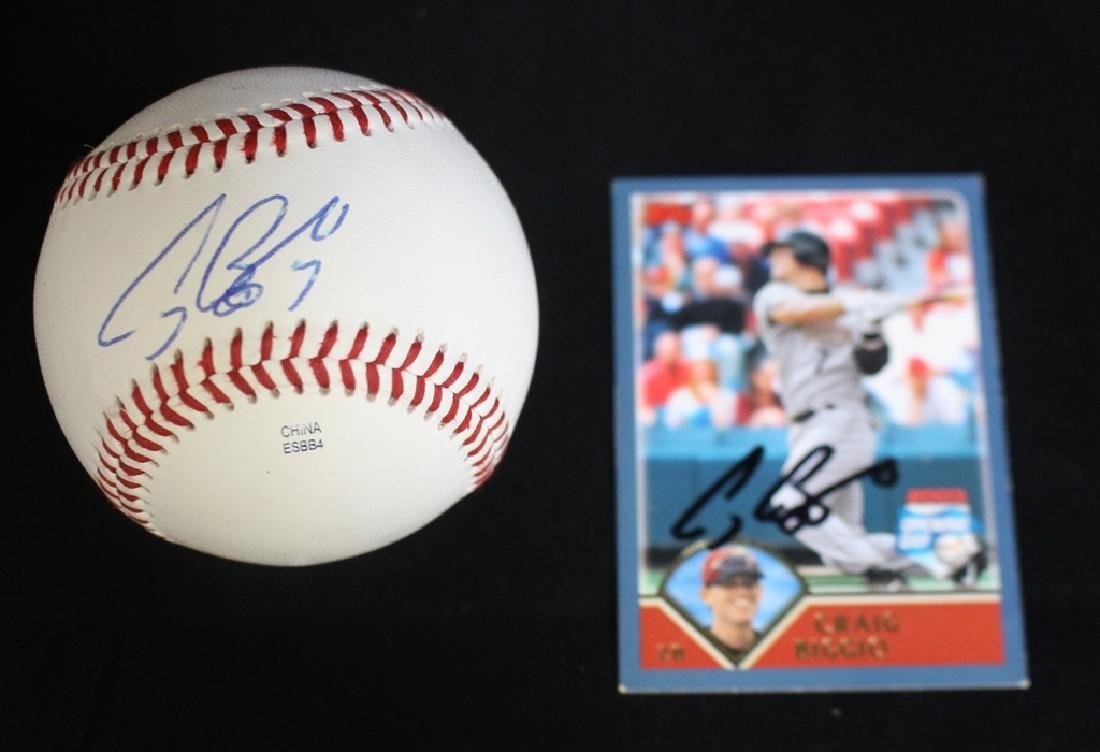 Craig Biggio autographed baseball and card