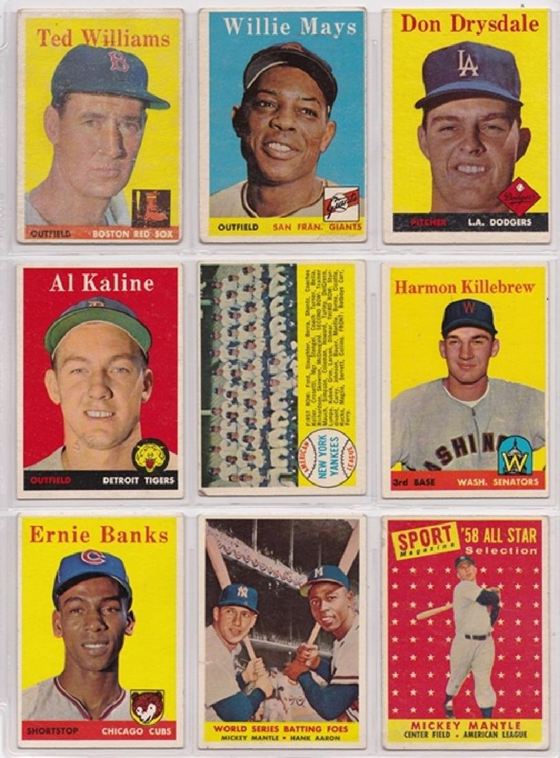 1958 Topps Baseball Card Lot, (239 Cards w Stars)