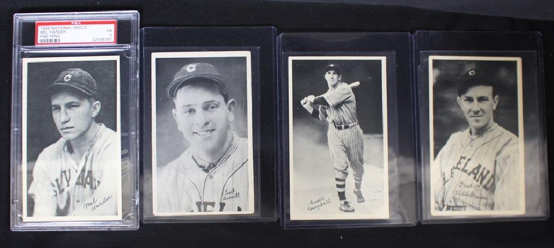 (4) 1936 Cleveland Indians National Chicle Cards