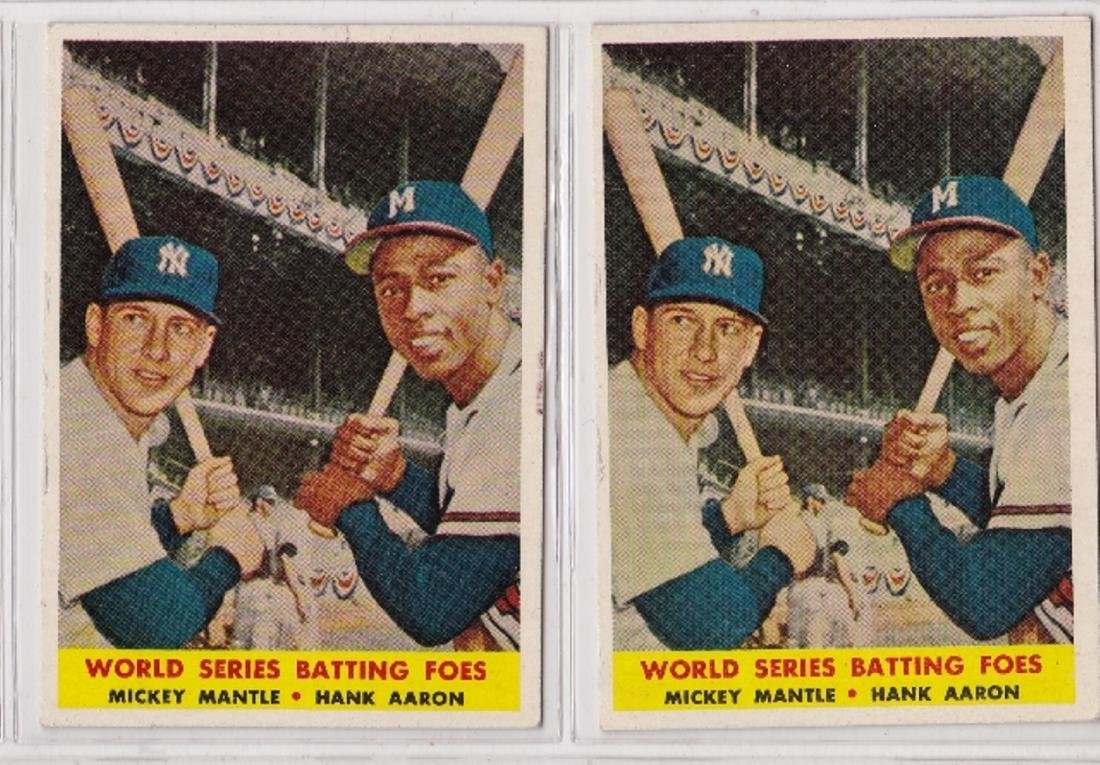 1958 Topps #418 WS Batting Foes, Mantle-Aaron, Lot of