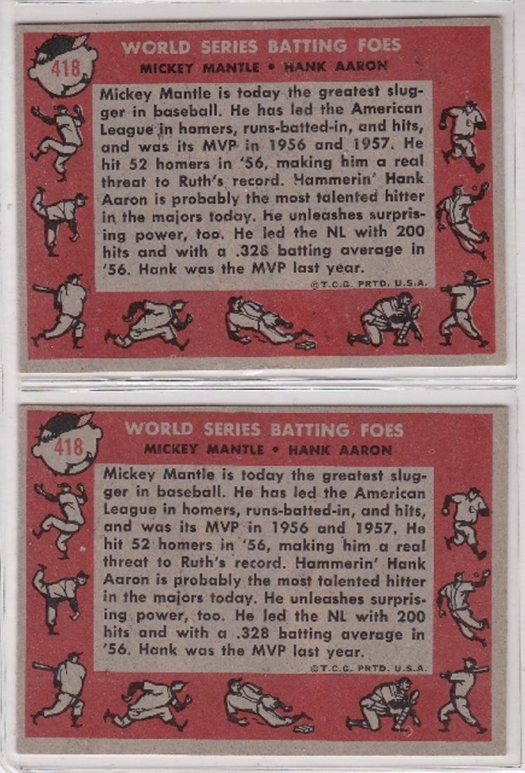 1958 Topps #418 WS Batting Foes, Mantle-Aaron, Lot of - 2