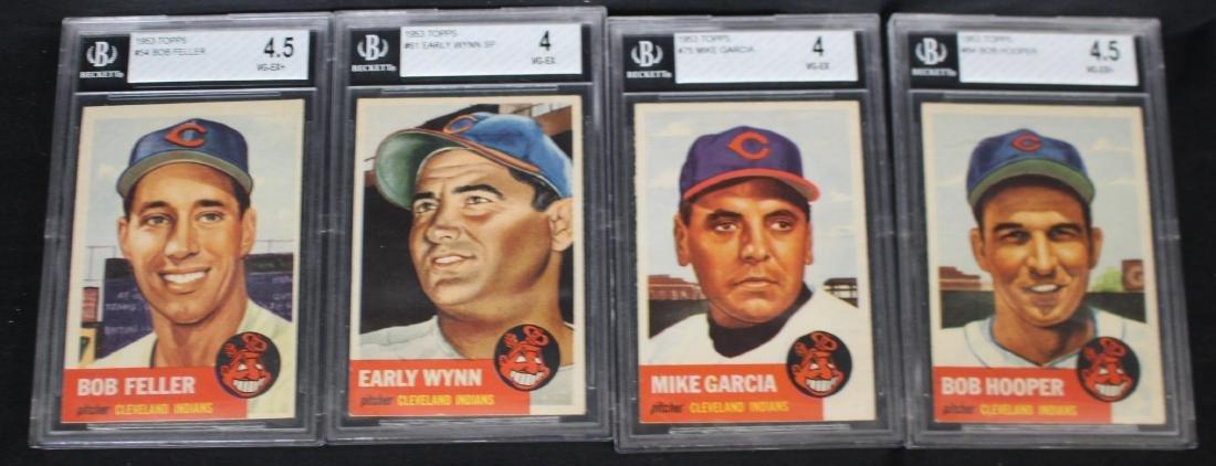 (4) 1953 Topps Cleveland Indians cards Beckett 4,4.5