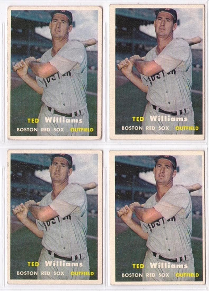 1957 Topps #1 Ted Williams Card Lot, (4) Cards