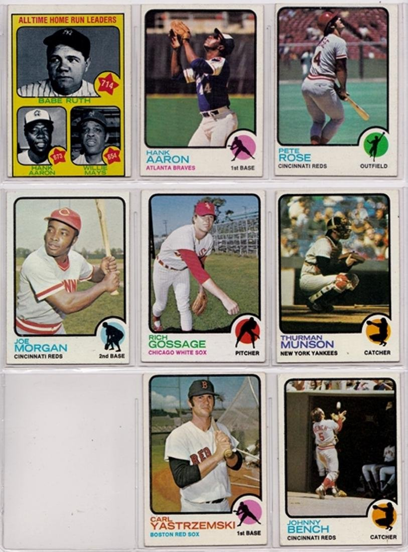 1973 Topps Baseball Card Near Set, (652) Cards w Stars