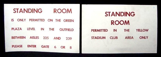 2A: Lot of Cleve Stadium Standing Room Signs