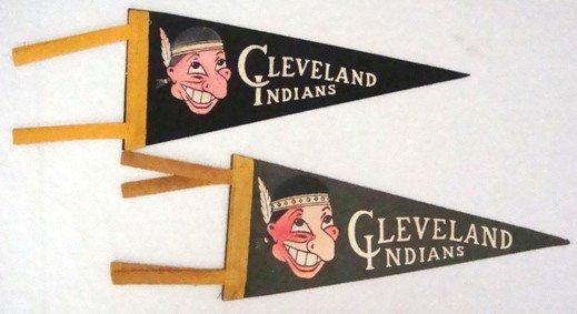 11: Pair of Vintage Indians Big-Nosed Mini Pennants