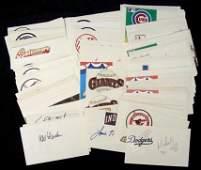 78A Lot of 100 Autographed Baseball Index Cards JSA