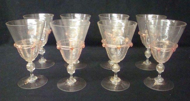 4: Set of Eight Handblown Venetian Goblets