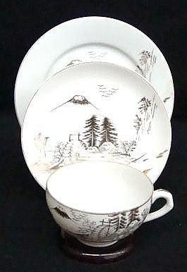 15: Chinoiserie Lithopane Cup Saucer Plate Set