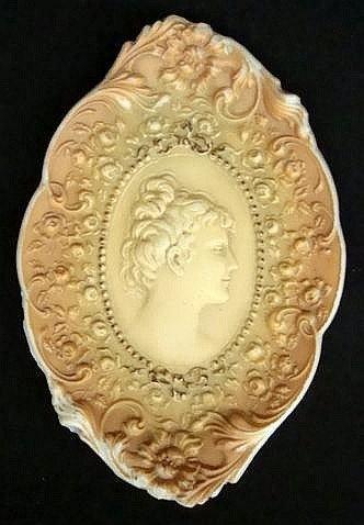 21: Art Nouveau Opaque Glass Portrait Tray