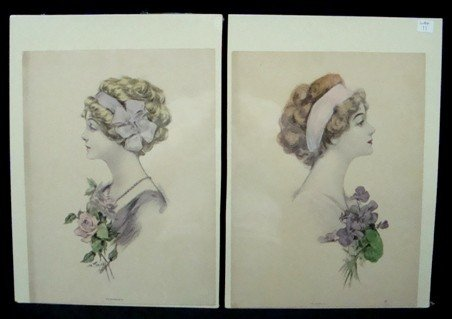 11: Pair of Color Plates Women with Flowers