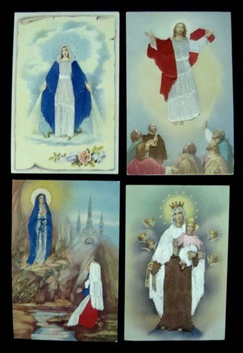 97: Lot of 13 Embroidered Religious Postcards