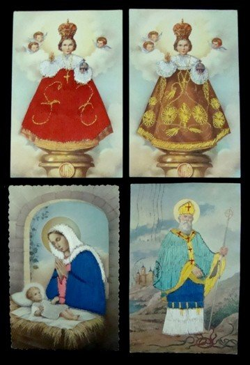97: Lot of 13 Embroidered Religious Postcards - 2