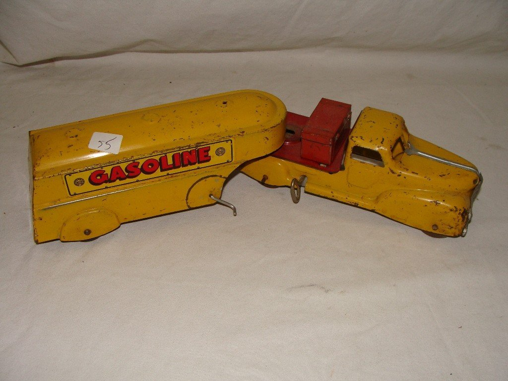 55: Marx Joy Gasoline Tanker and Cab Wind Up Tin Toy
