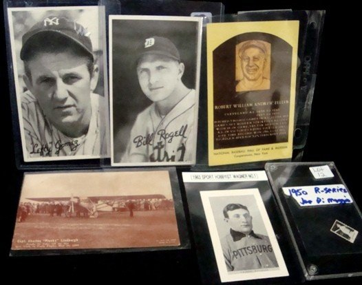 12: Lot of Misc Cards, Exhibits, Feller Signed HOF Post