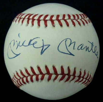 76: Mickey Mantle Autographed Bobby Brown Ball