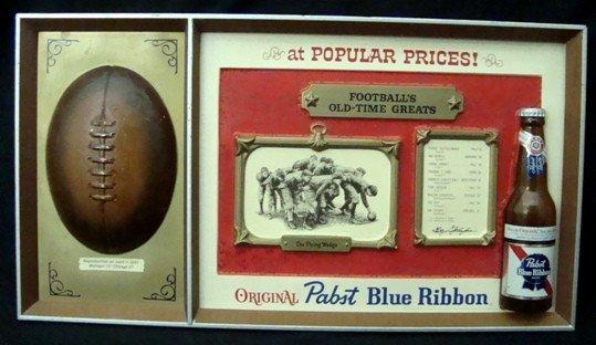 110: Rare Pabst Blue Ribbon Football Bar Sign Display