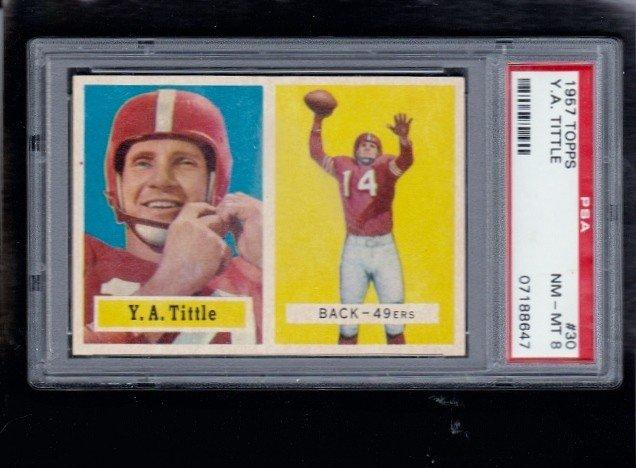 3: 1957 Topps #30 Y.A. Tittle PSA 8 NM-MT