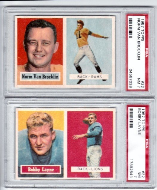 4: 1957 Topps #22 Norm Van Brocklin PSA 7 NM and 1957 T