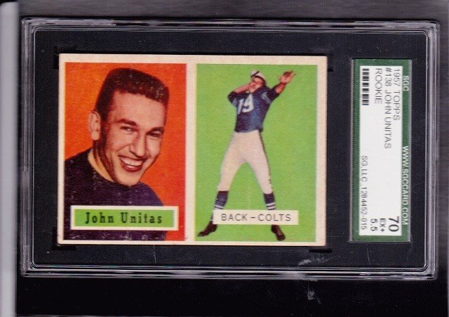8: 1957 Topps #138 Johnny Unitas RC SGC 70 EX+ 5.5