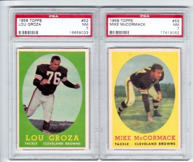 12: 1958 Topps #59 Mike McCormack PSA 7 NM and 1958 Top