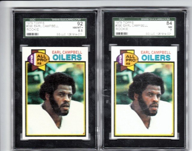 23: 1979 Topps #390 Earl Campbell RC SGC 84 NM 7 and 19