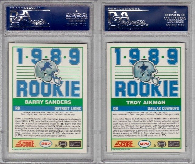 76: Lot of (2) 1989 Score Rookie Football Cards. #257 B - 2
