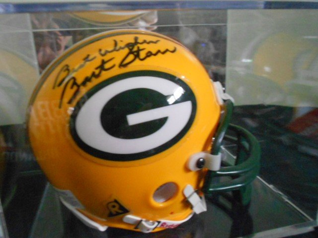 256: Bart Starr signed Green Bay Packers Mini-Helmet wi
