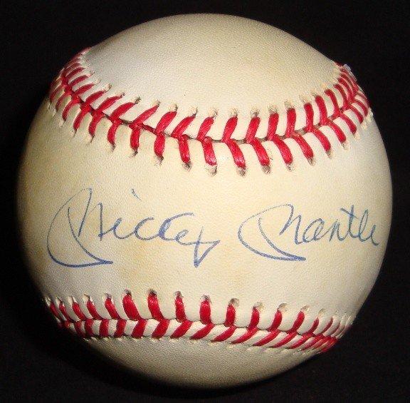 408: Mickey Mantle Autographed Baseball, JSA