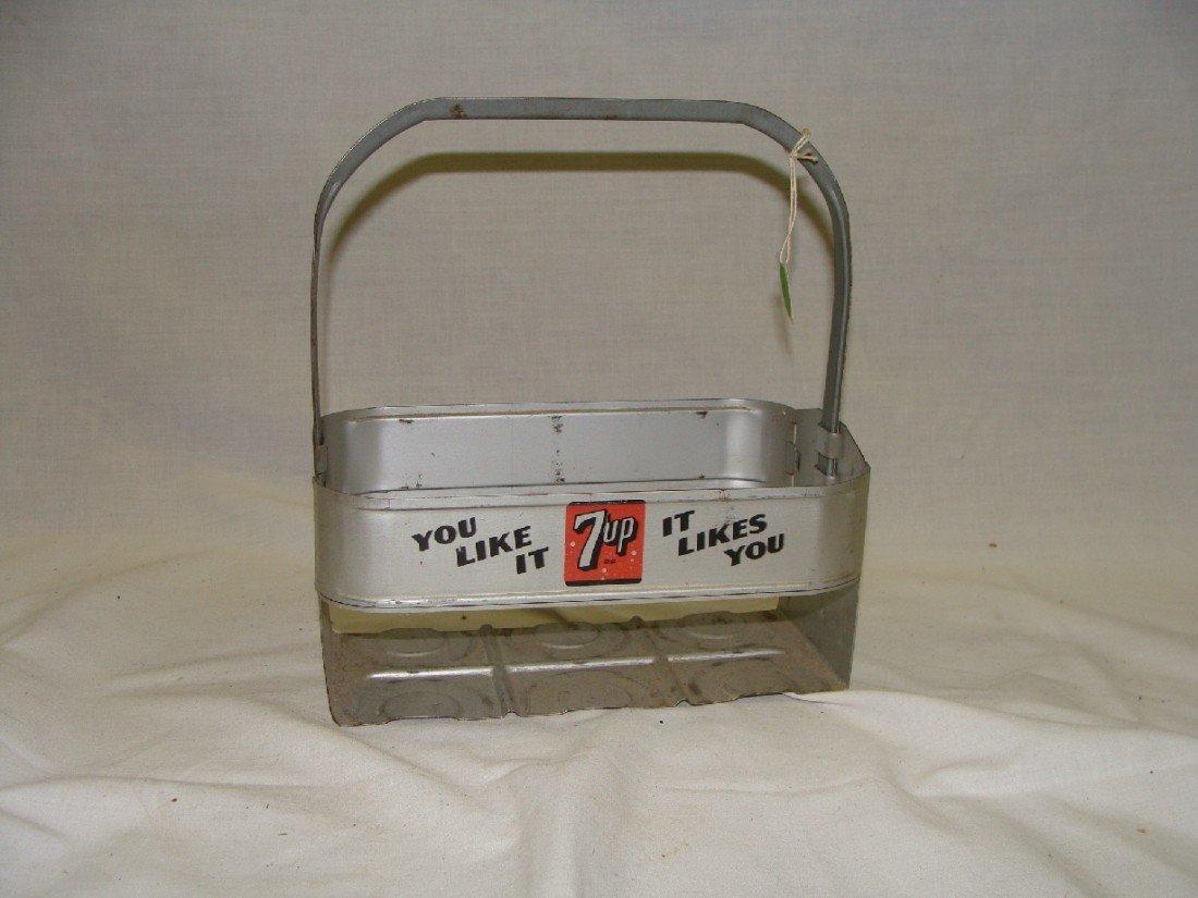 6: 1950's 7-UP Aluminum 6 Pack Bottle Carrier