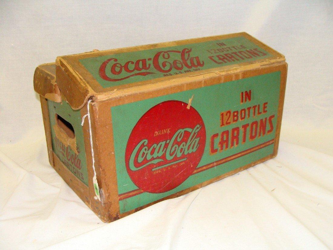 9: 1940's GREEN Cardboard Coca-Cola Carrier 12 Bottle C