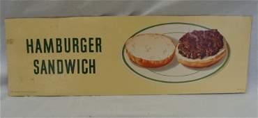 "52: 1958 Coca-Cola Cardboard Sign ""Hamburger"""