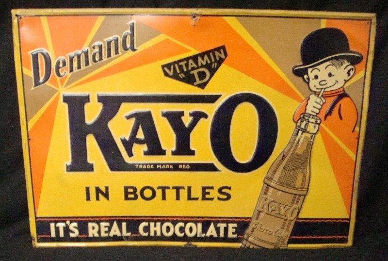 327: Original Kayo Chocolate Tin Litho Advertising Sign