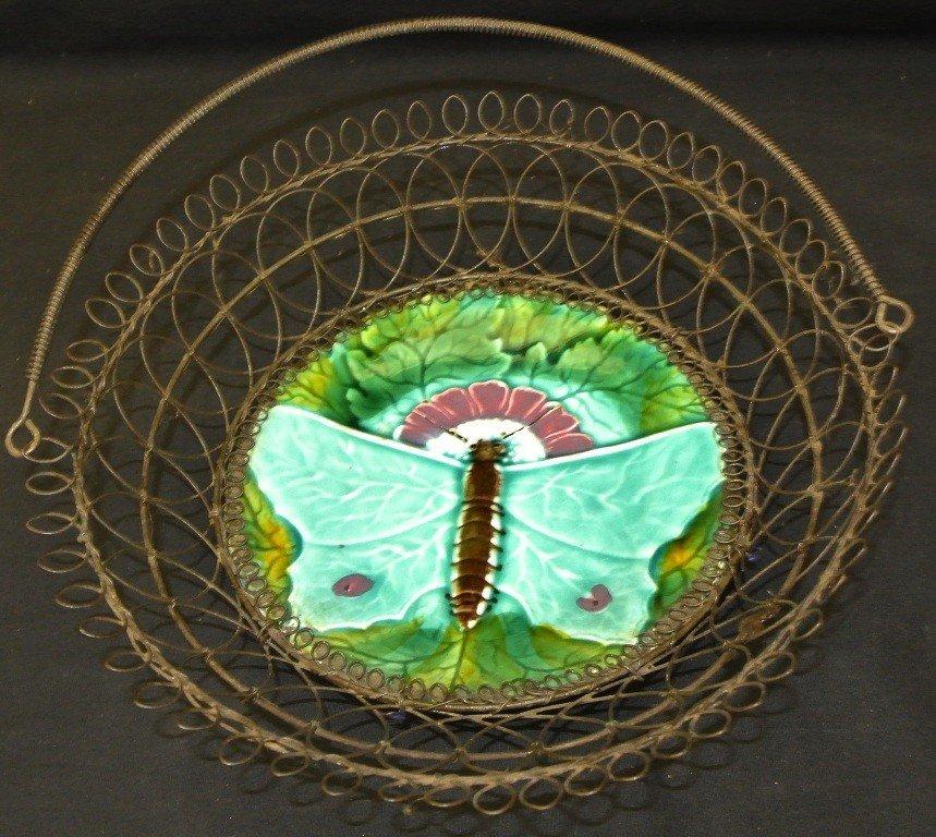 608: Majolica Butterfly Basket